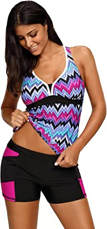 UONBOX Women's Racerback Chevron Print Tankini Set with Shorts 2 Piece Swimsuit