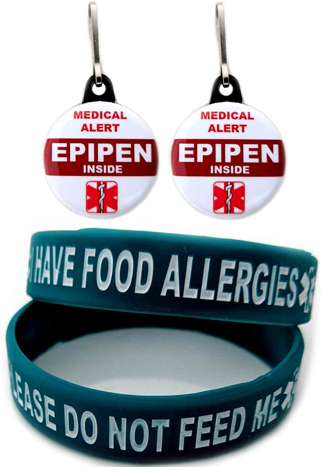I Have Food Allergies Allergy Bracelet for Kids Teal 2pcs Toddler Size and Medical Alert Epipen Inside Bag Tag 2pcs