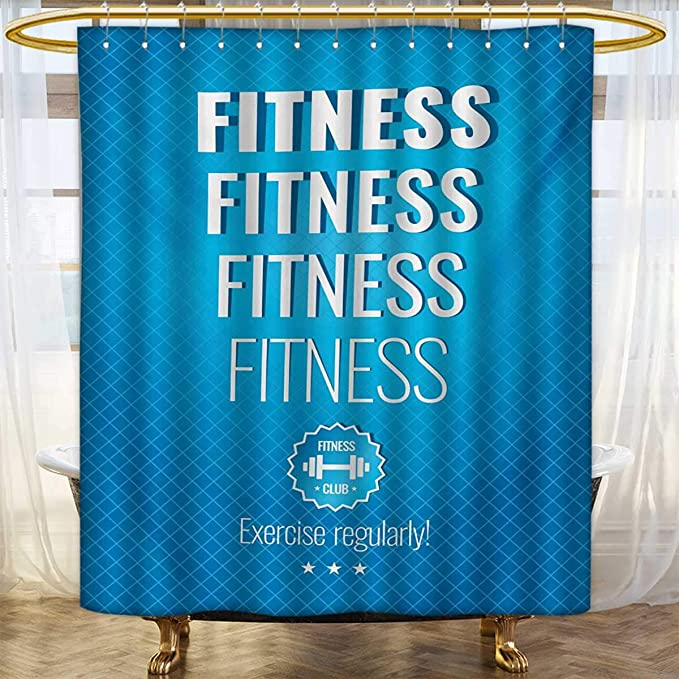 Amazon Lacencn FitnessShower Curtains Mildew ResistantMuscular Man Lifting Barbells Body Builder Icon Strength Work Out PowerfulBathroom Set With