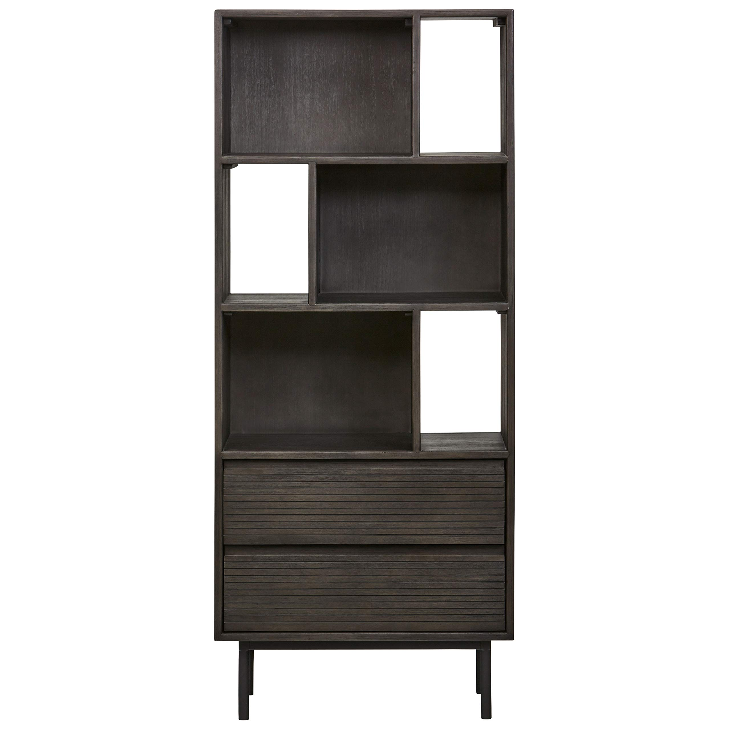 Rivet Stevens Modern Bookcase, 27.56''W, Acacia, Brushed Tundra Gray by Rivet (Image #4)