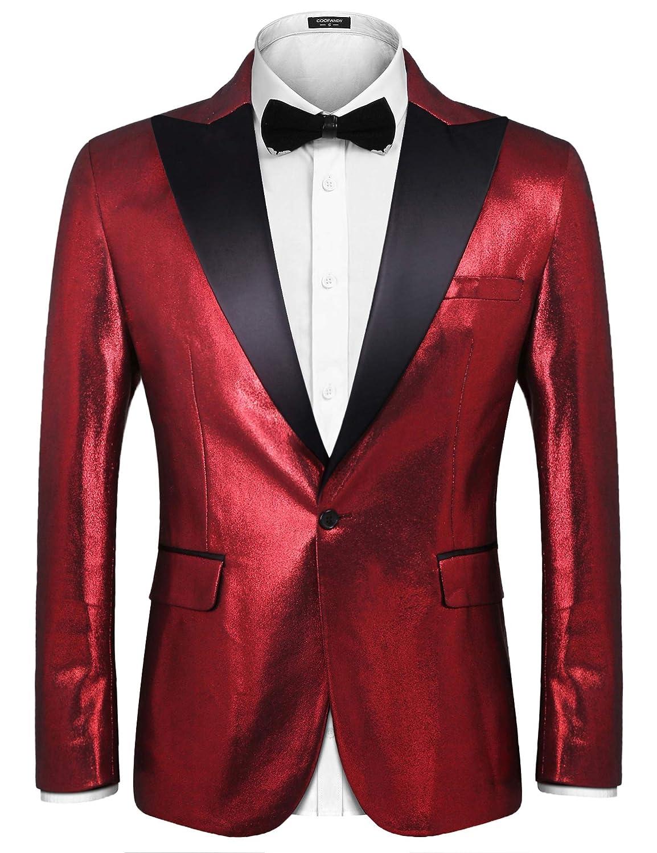 Coofandy Men's Double Collar Two Button Slim Fit Suit Blazer Jacket ZX0152