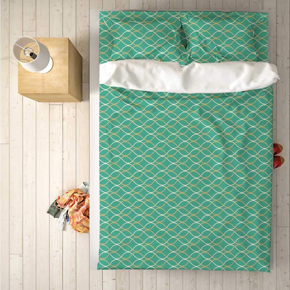 Modern Soft 4 Piece Bedding Set,Wavy Lines in Different Colors Crossing Each Other Horizontal Abstract Pattern for Bedroom,One Side Print : Singe