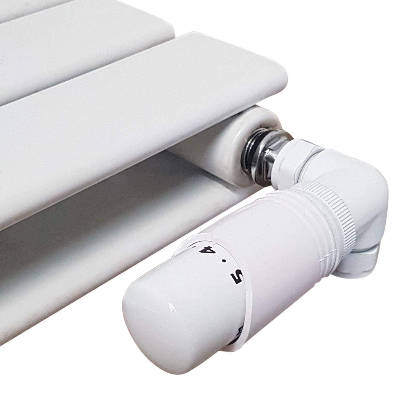 Thermostatic Radiator Valve Set White Radiator Valves inc Delta Corner TRV /& Lockshield