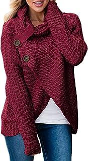 Otoño y Invierno Mujeres Suéter Casual Cuello Alto Jerséis de Manga Larga Pulóver Blusa Sweater Moda Irregular Prendas de Punto Tops Camisetas Shirt