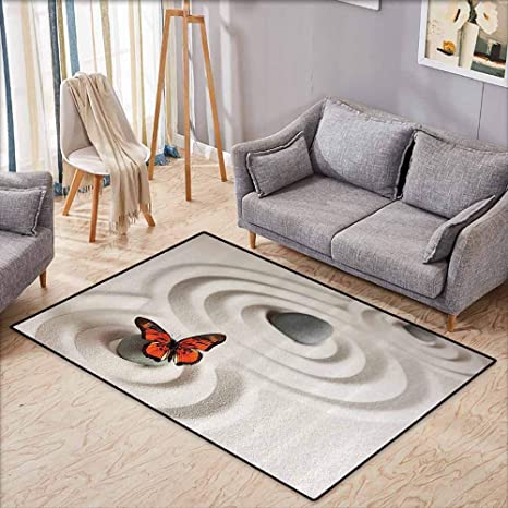 Amazon.com: Girl Bedroom Rug Butterflies Decor Zen Rock on ...