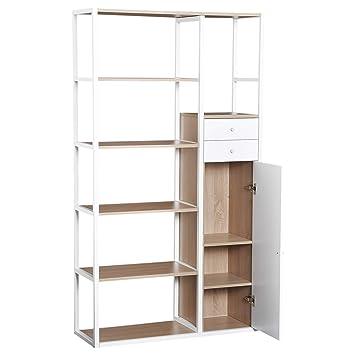 Libreria Moderna Per Soggiorno.Homcom Libreria Moderna 6 Ripiani 2 Cassetti Armadietto Con Anta