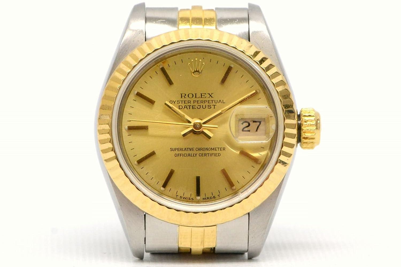 ロレックス 69173 デイトジャスト コンビ 腕時計 シャンパン N番 1991年 自動巻 SS 100m レディース 中古 B0759JCQ49