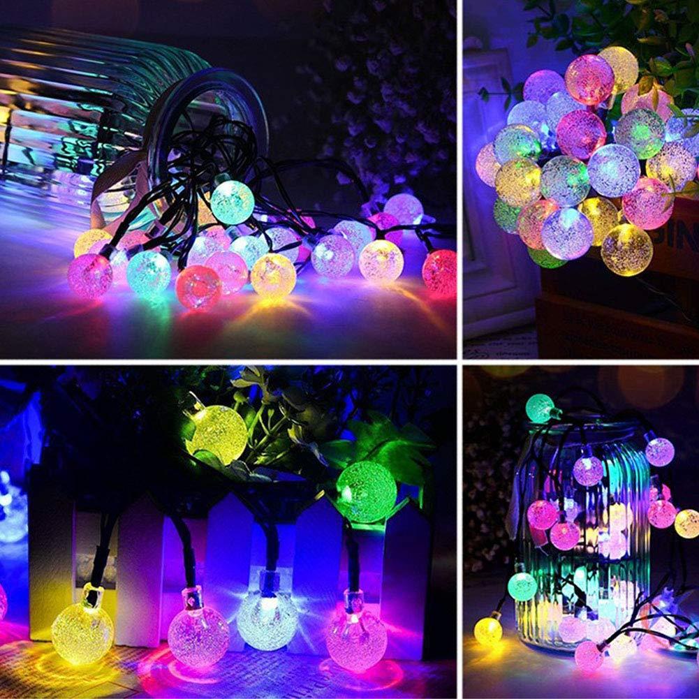2018 Outdoor Solar String Lights 100 LED - Crystal Waterproof Lights 55.8 FT- Patio Lawn Landscape Lighting