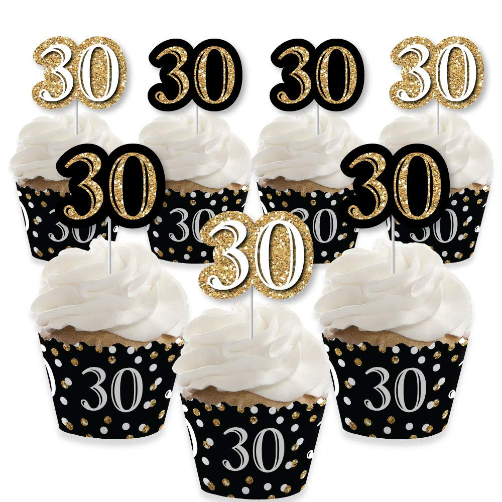 Adult 30th Birthday - Gold - Cupcake Decoration - Birthday Party Cupcake Wrappers and Treat Picks Kit - Set of 24 by Big Dot of Happiness