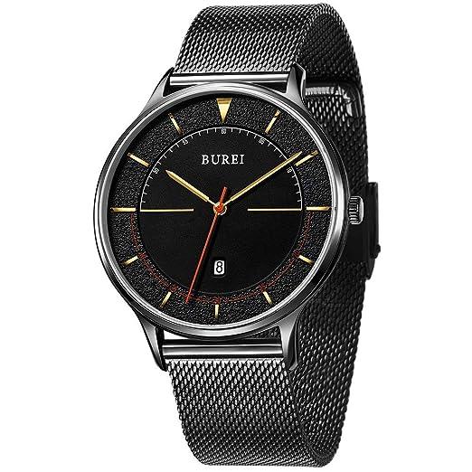 BUREI Relojes de Cuarzo Minimalistas Unisex con Gran Cara analógica Negra Calendario Mineral Crystal Black Band