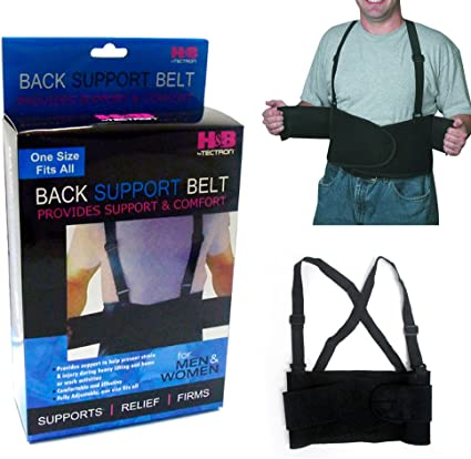 Heavy Lift Back Support Belt /& Waist Brace w Adjustable suspenders Size Medium