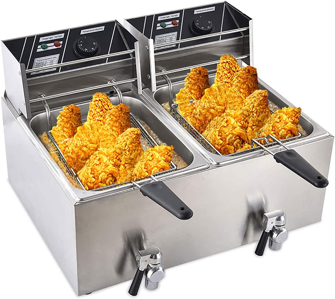 Frifer Commercial Deep Fryer with Baskets & Lids 3600W French Fries Fryer Oil Fryers Stainless Steel Countertop Electric Deep Fryer Restaurant Kitchen Frying Electric Dual Tank Oil Drain Valve