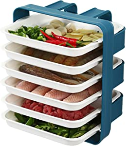 Kitchen preparation plates, multi-layer household trays, multi-functional layered side dishes, Wall Mount Rack Organizer ?Kitchen Supplies Storage Set (6 layer Blue)
