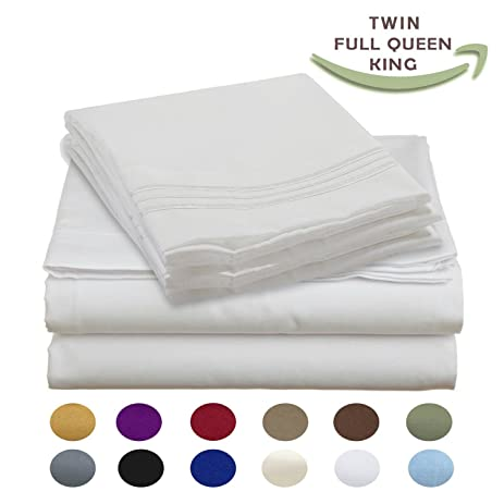 luxury egyptian comfort wrinklefree thread count 4 piece queen size sheet set