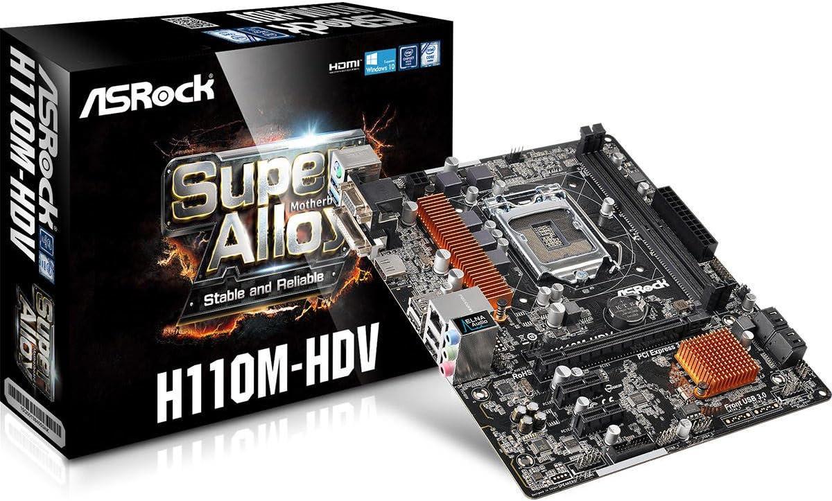 ASRock Motherboard Micro ATX DDR4 H110M-HDV