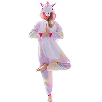 0f6c74e612 Amazon.com  Spooktacular Creations Unisex Adult Pajama Plush Onesie One  Piece Unicorn Animal Costume  Clothing