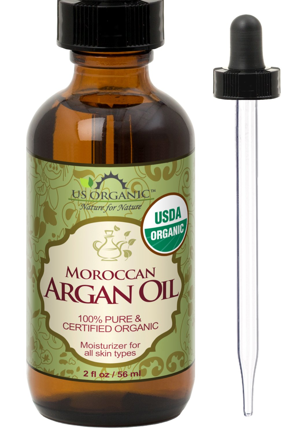 US Organic Moroccan Argan Oil, USDA Certified Organic,100% Pure & Natural, Cold Pressed Virgin, Unrefined, 2 Ounce in Amber Glass Bottle with Glass Eye Dropper for Easy Application US Organic Group Corp AROL021 AROL041