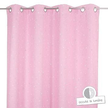 Rideau occultant rose clair étoilé pour chambre enfant