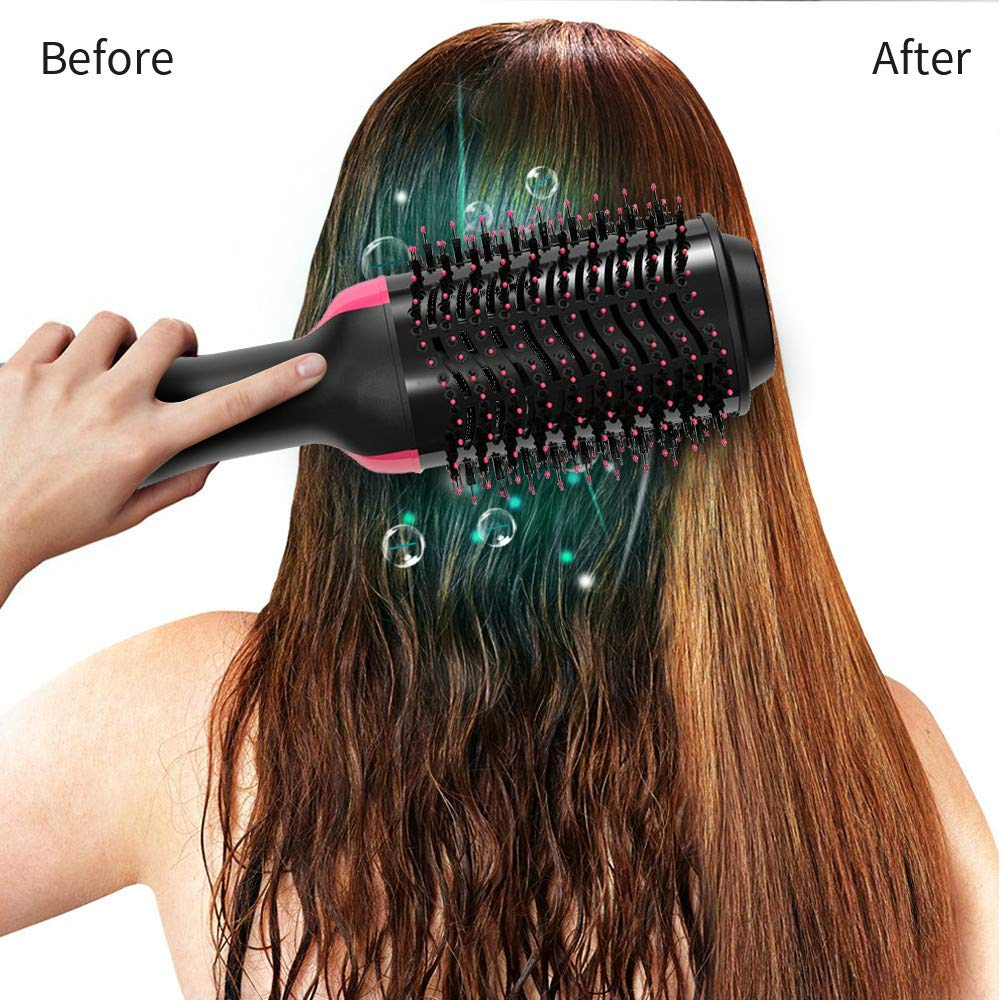 Hot Air Brush, Blow Dryer Brush, One Step Hair Dryer Volumizer, Ceramic Electric Blow Dryer, 3 in1 Styling Brush Styler, Negative Ion Hair Straightener Brush with 2pcs Hair Clips