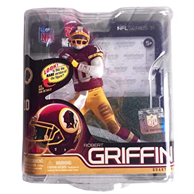 McFarlane Toys NFL Series 31 Robert Griffin III (RGIII) Figure Washington Redskins Throwback Anniversary Maroon Jersey: Toys & Games