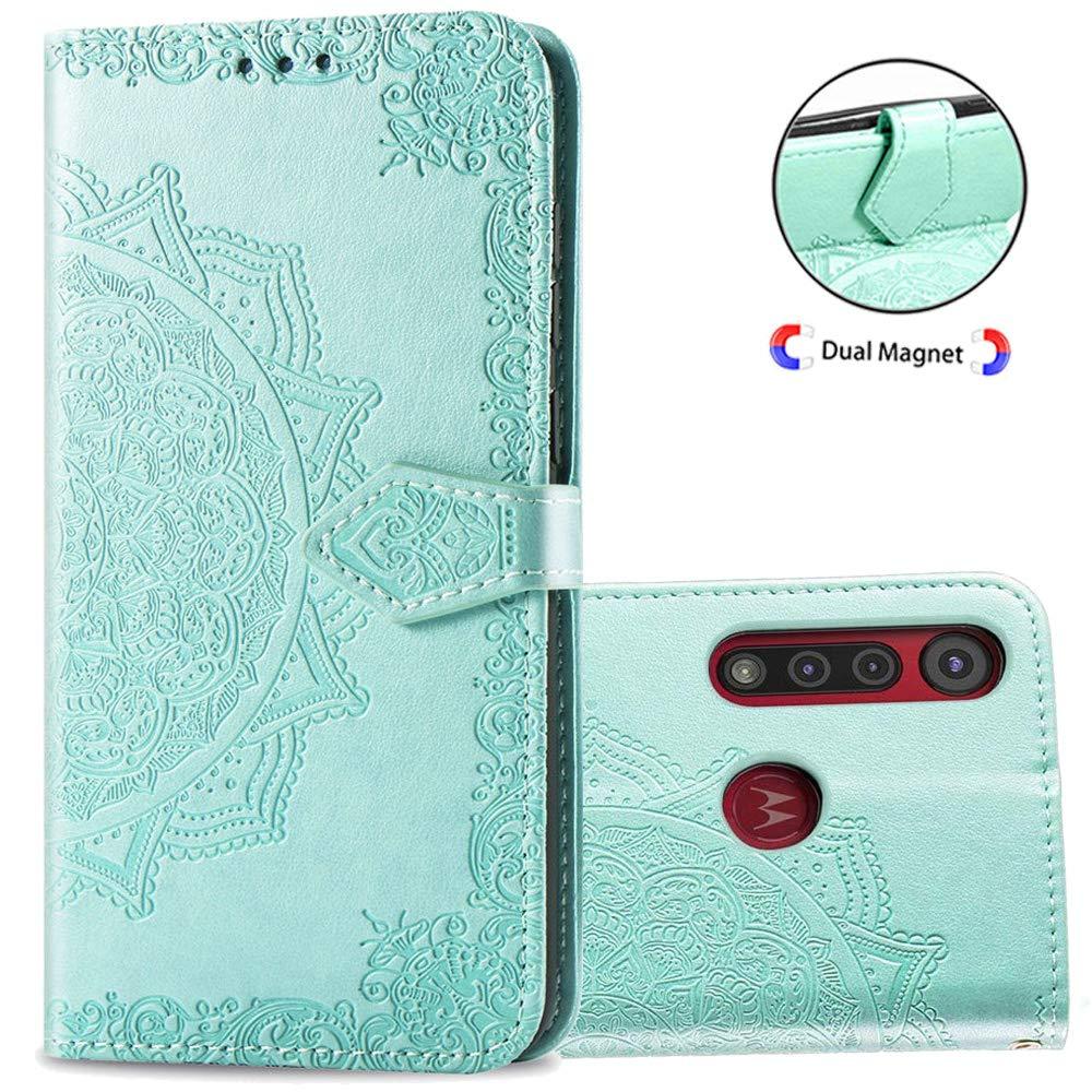 Funda Flip Cover Mandala Para Motorola G8 Plus, Turquesa