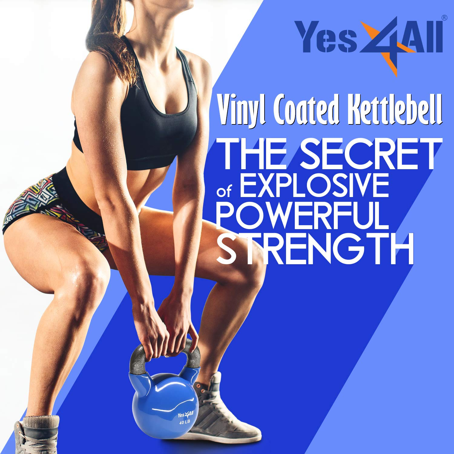 Yes4All Vinyl Coated Kettlebell Weights Set - Great for Full Body Workout and Strength Training - Vinyl Kettlebell 35 lbs by Yes4All (Image #1)