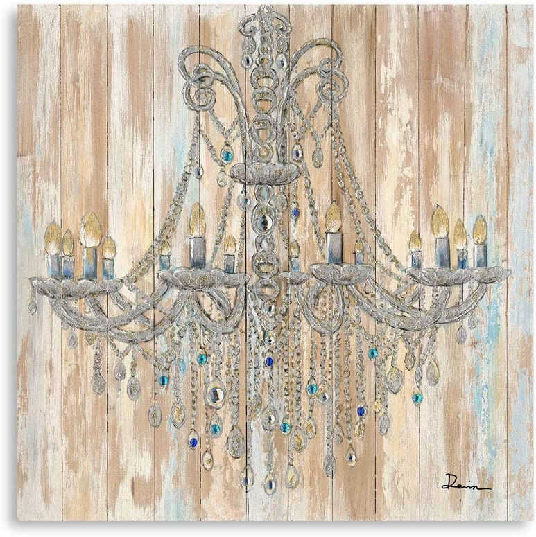 B BLINGBLING Chandelier Painting on Canvas Art: Vintage Crystal Chandelier Wall Decor Canvas Bright Color for Living Room with Frame Easy Hanging (24
