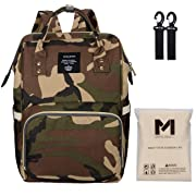 Lequeen Camo Diaper Bag | Mens Women Camouflage Diaper Backpack with Changing Pad and Stroller Straps, Unisex Mom Backpack for Dad Baby Boys (Camouflage)