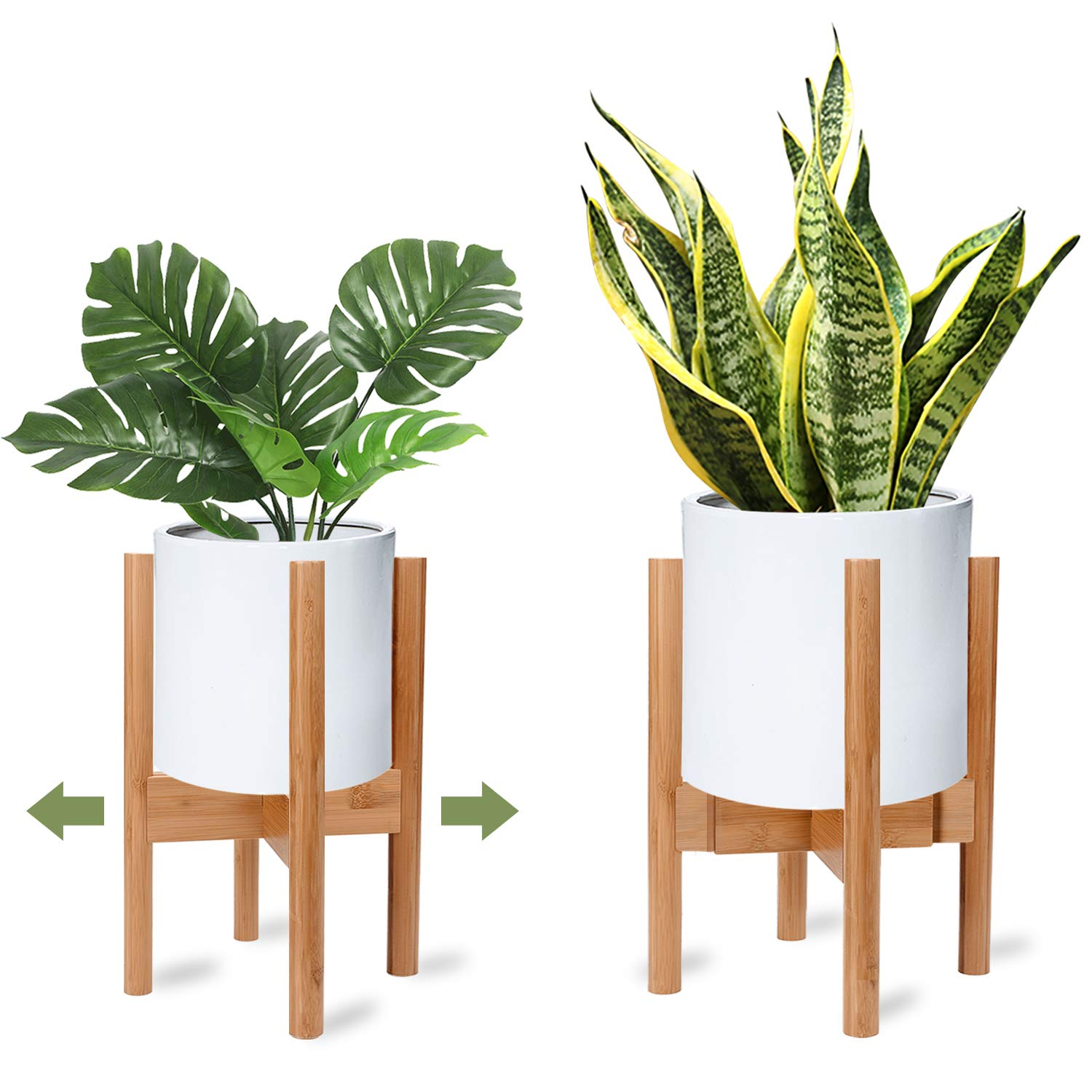 X-cosrack Adjustable Plant Stand Mid Century Wood Modern Flower Potted Holder Rack for Indoor Outdoor, Fit 8'' to 12'' Planter(Plant and Pot Not Included) by X-cosrack