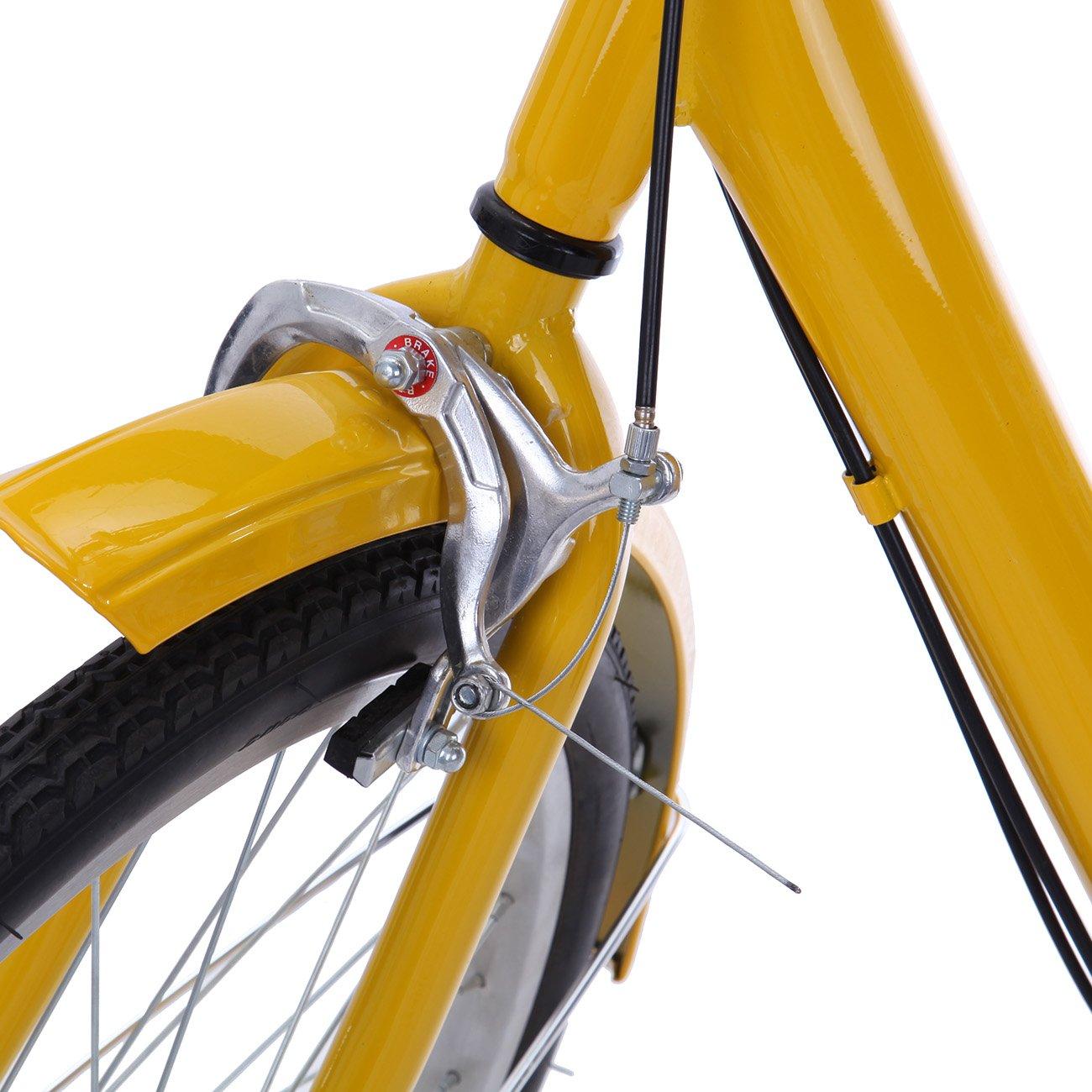 IglobalbuyYellow 24-Inch 6-Speed Adult Tricycle Trike 3-Wheel Bike Cruise Bike with Basket by Iglobalbuy (Image #5)