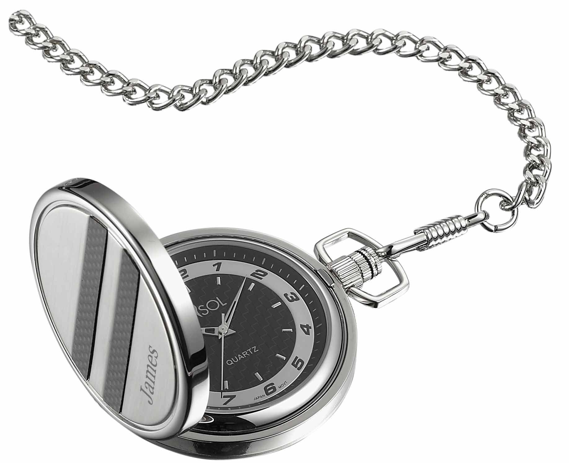 Personalized Visol Turbo Black Dial Carbon Fiber Pocket Watch with free engraving