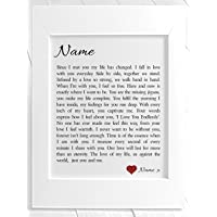 Personalised Love Poem Framed Print - You & Me. Birthday, Christmas, Valentine's Day, Anniversary, Wedding. Personalised details during the order process.
