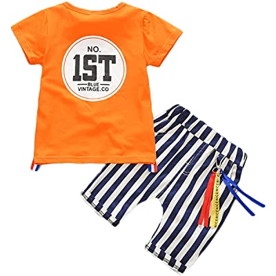 "2 Pcs Baby Kids Boys""1ST"" Print Summer Causal T-shirt With Stripe Short Pants Outfits Set"