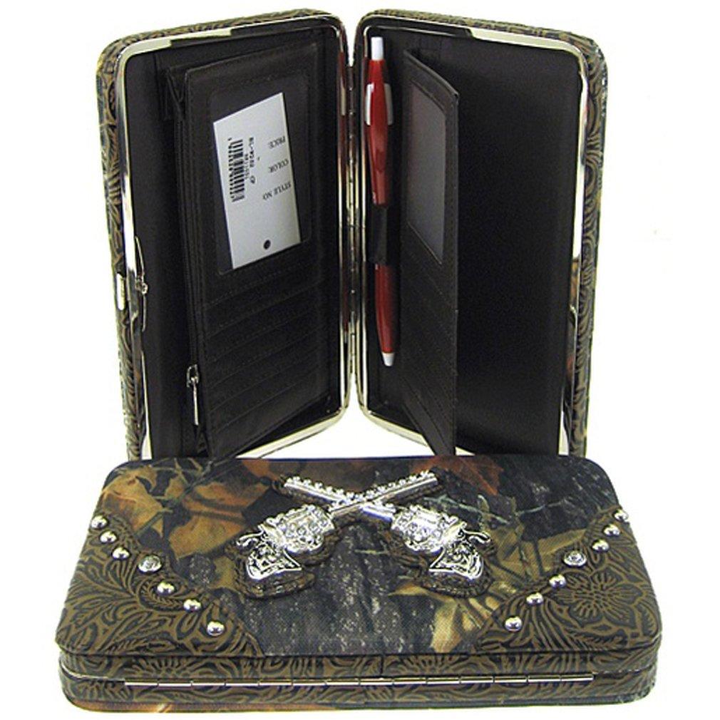 Western Cowgirl Camo Revolver Guns Flat Wallet Clutch Purse Camouflage (coffee brown)