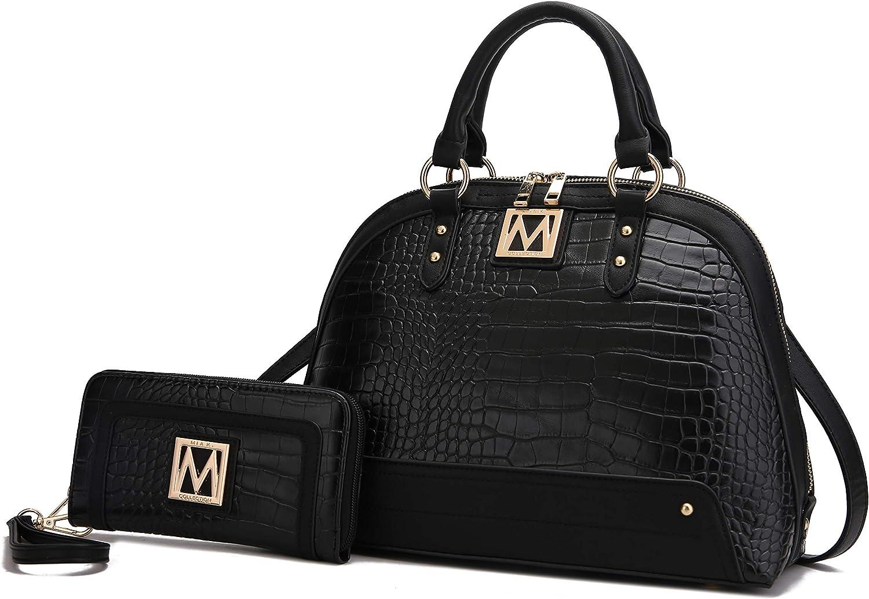 MKF Set Crossbody Satchel Bag for Women & Wristlet Wallet Purse – PU Leather Top Handle Tote – Shoulder Handbag