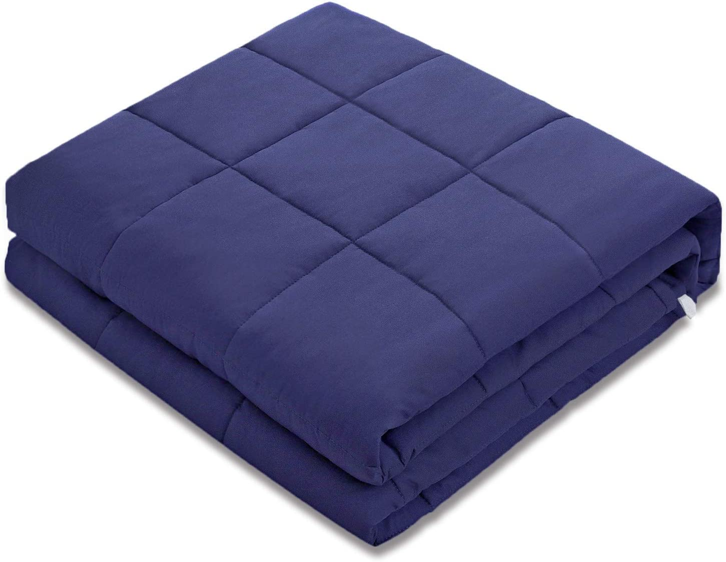 Amy Garden 7 Layers Breathable 100% Cotton Preminum Weighted Blanket (48x72 Inch,15 lbs for 120-180 lbs Individual, Navy) | 2.0 Adults Heavy Blanket