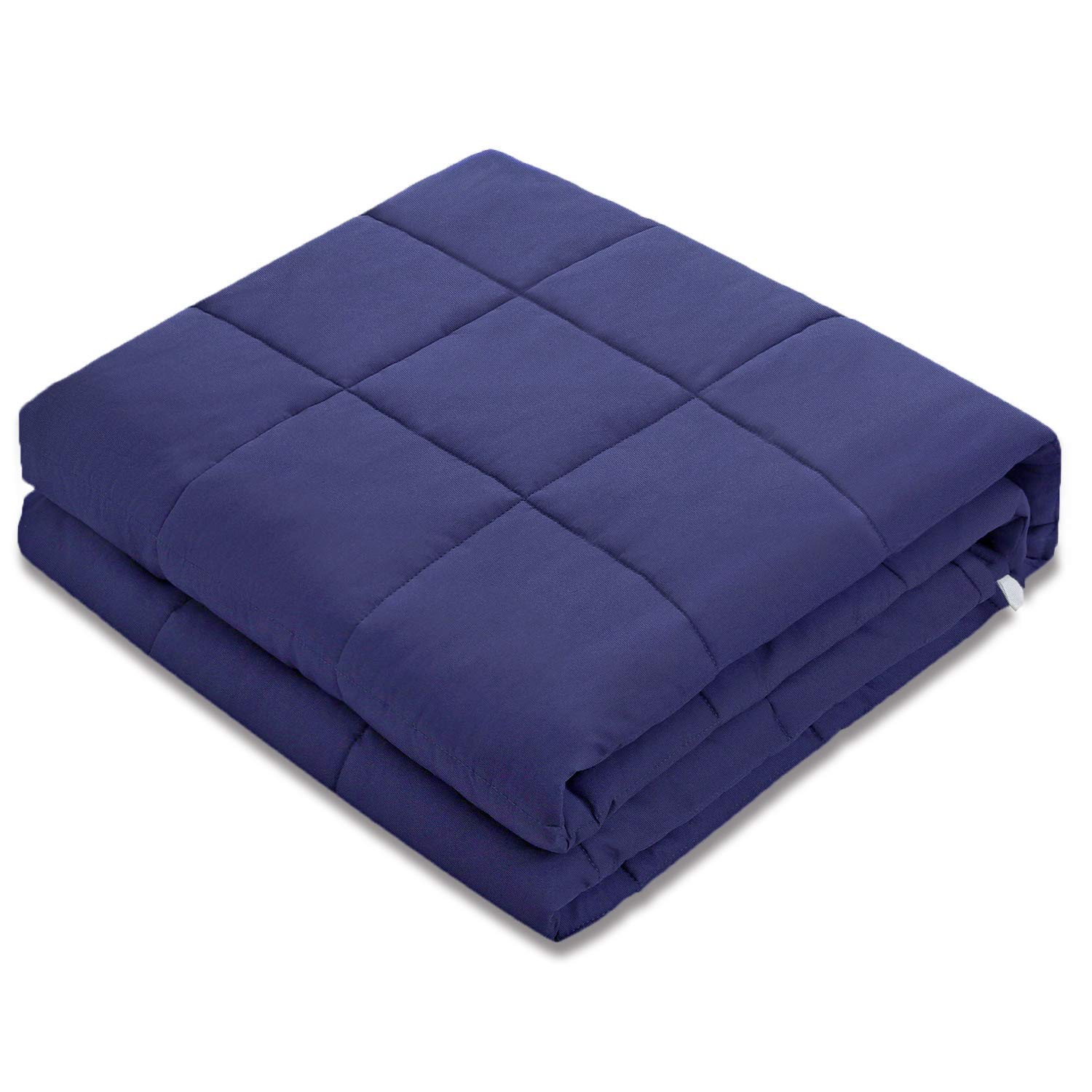 Amy Garden 7 Layers Breathable 100% Cotton Preminum Weighted Blanket (48x72  Inch,15 lbs for 120-180 lbs Individual, Navy) | 2 0 Adults Heavy Blanket