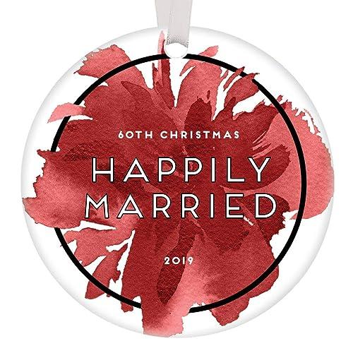 Amazoncom 60th Wedding Anniversary Ornament Christmas 2019