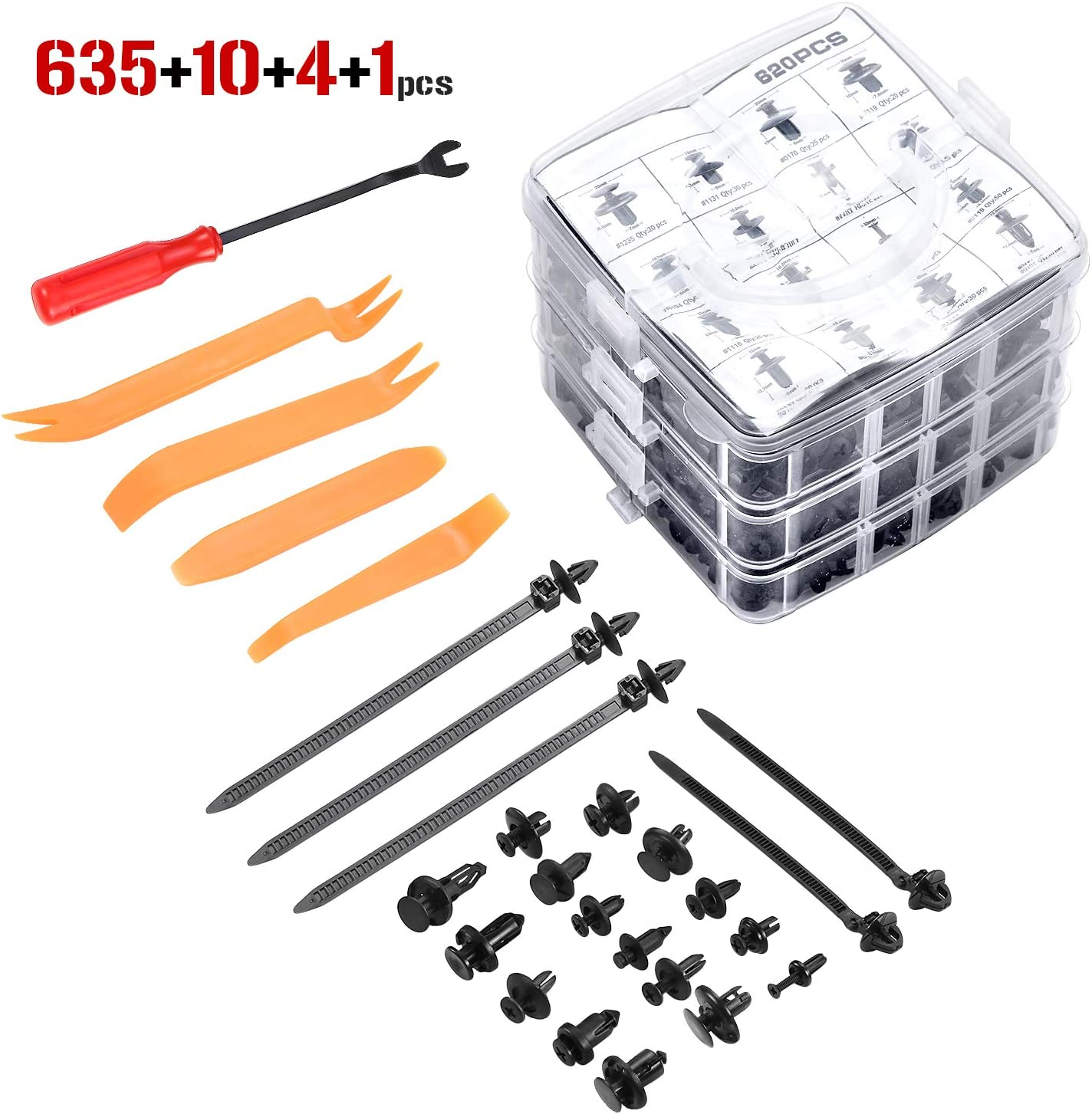 One-Stop Car Body Plastic Push Rivets Kit 36DB 635Pcs Car Retainers Clips and Fasteners Removal 16 Most Popular Sizes Auto Clips and Tools Set for Toyota GM Ford Honda Acura Chrysler
