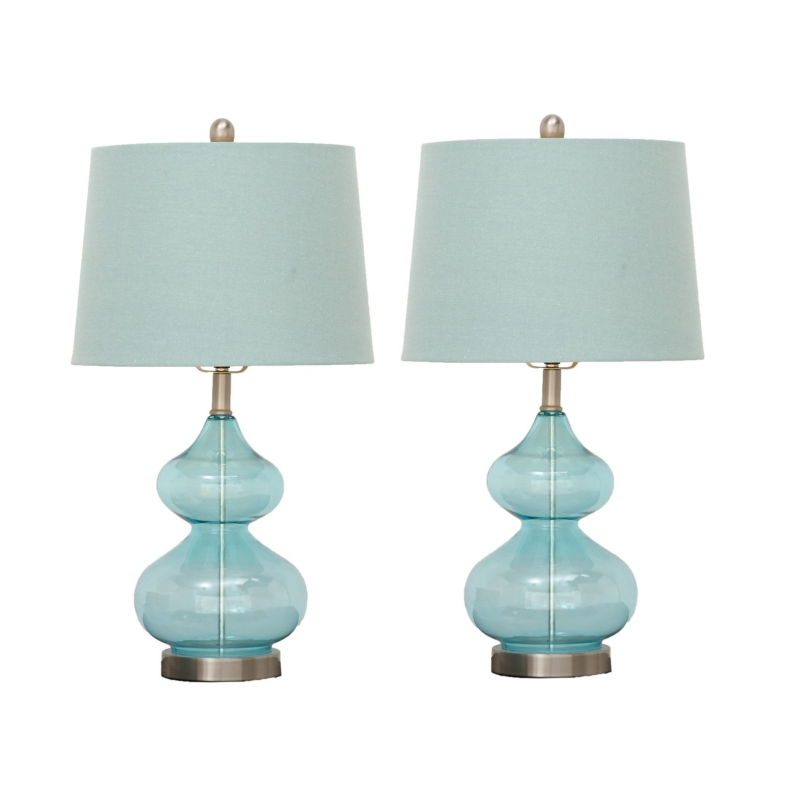 Urban Designs 7749379 Imported Fiona Glass Table Lamp - Set Of 2,Blue by Urban Designs