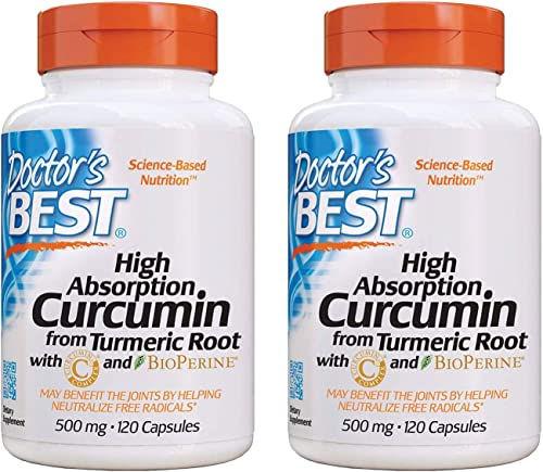 Doctor s Best Curcumin From Turmeric Root, Joint Support, 500 Milligram Caps with C3 Complex and BioPerine, 120 Capsules, 2 Packs