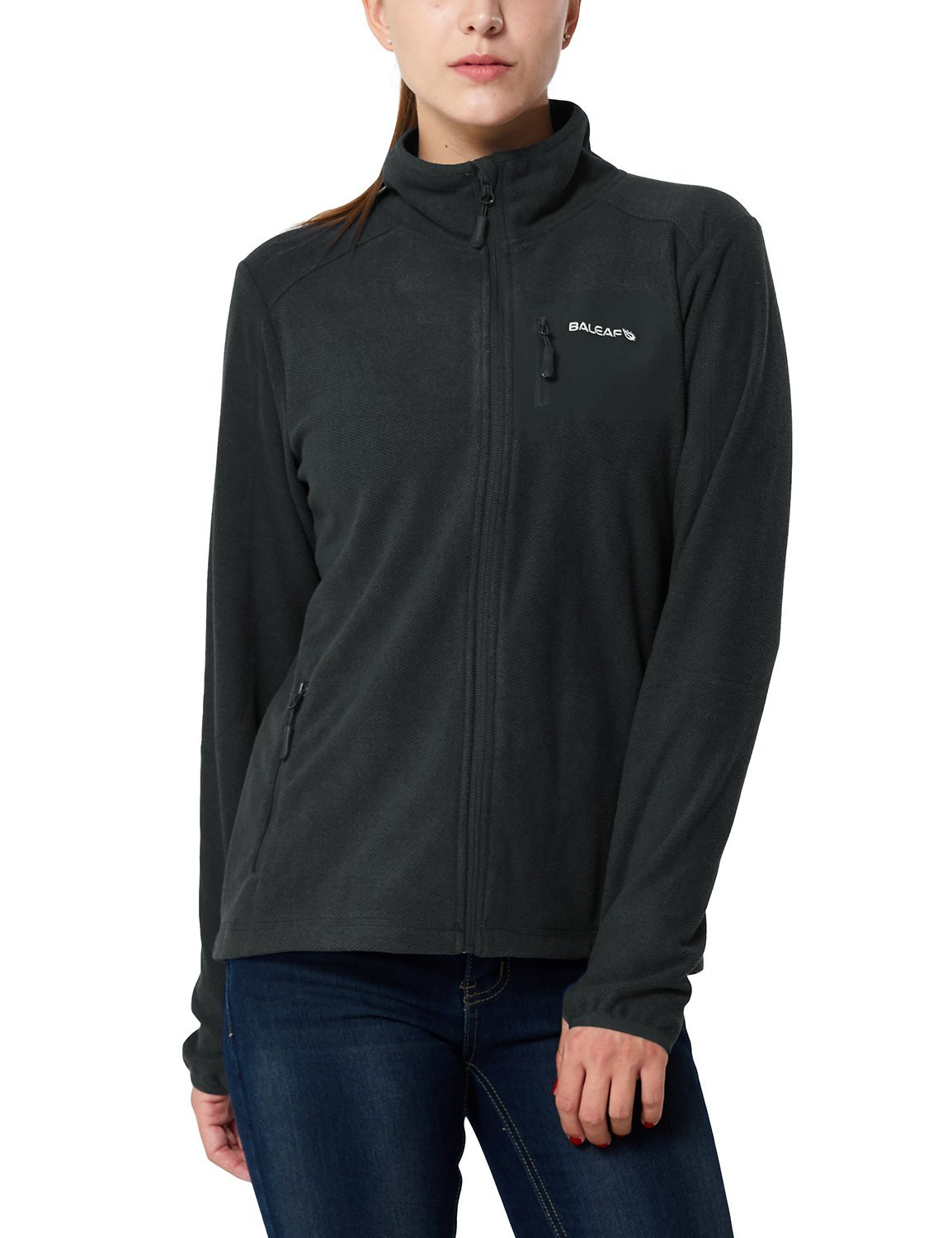 Baleaf Women's Full Zip Mid-Weight Fleece Jacket Pullover Gray Black Size XL