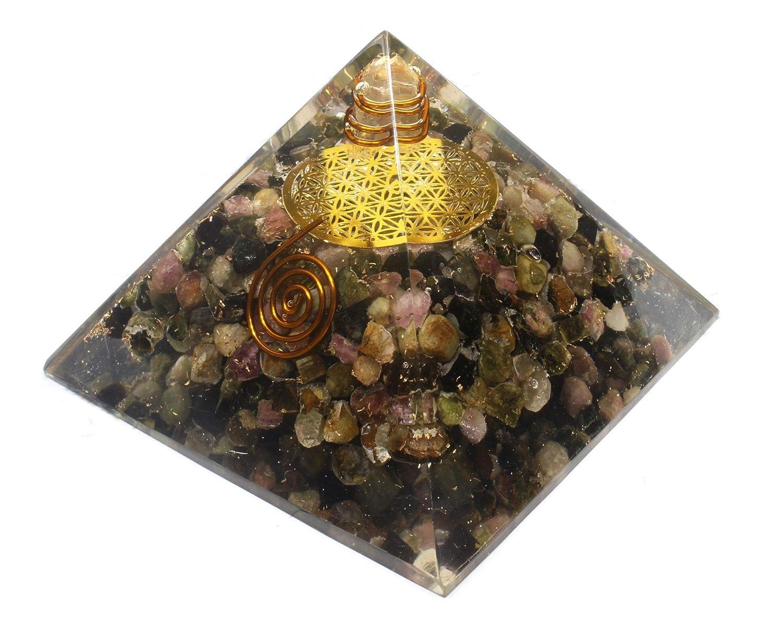 Orgone Pyramid-Multi Tourmaline Orgone Energy Generator-Flower of Life Healing Crystals Pyramid for Balancing Chakra- Stress-EMF Protection