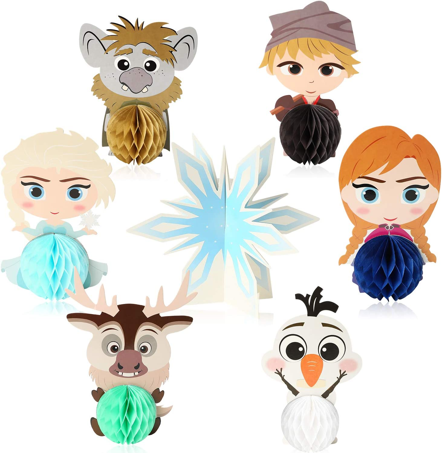 Ticiaga 7pcs Frozen Honeycomb Centerpieces, Table Topper for Girls Birthday Party Decoration, Double Sided Cake Topper Princess Theme Party Supplies for Kids, Photo Booth Props Mix of Elsa, Anna, Olaf