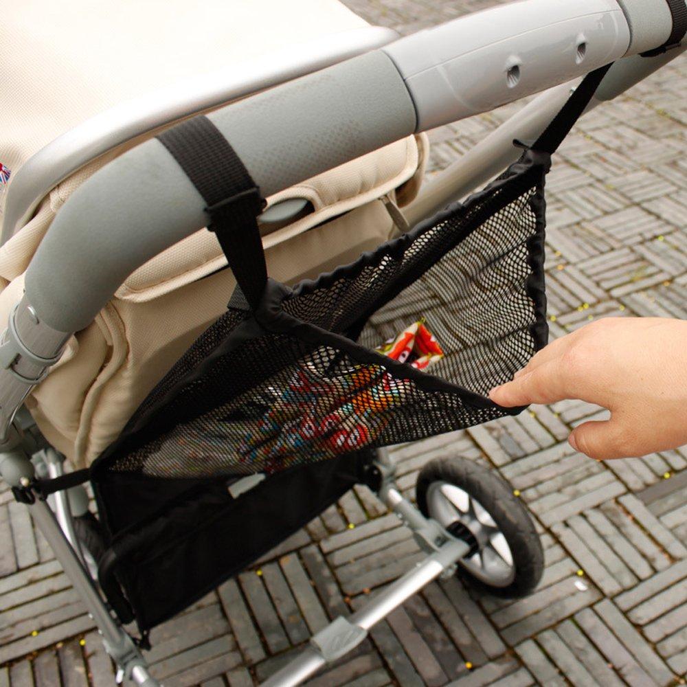 Baby Stroller Organizer, Timorn Lightweight Stroller Bag, Universal Travel Stroller Organizer Baby Stroller Accessories Mesh Net (Black 1pc) T908A