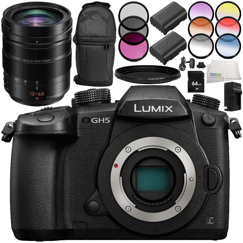Panasonic Lumix DC-GH5 Mirrorless Micro Four Thirds Digital Camera with Leica DG Vario-Elmarit 12-60mm f/2.8-4 ASPH. POWER O.I.S. Lens 10PC Accessory Bundle – Includes 64GB SD Memory Card + MORE