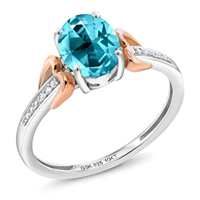 ffb62a653 925 Silver Solitaire w/Accent Stones Ring Set With Diamond Paraiba Topaz  from Swarovski