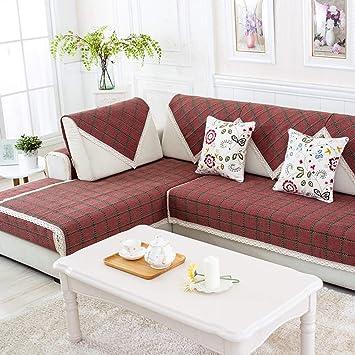 Algodón Enrejado Toalla de sofá,Anti estático Funda para sofá Cama a prueba de polvo