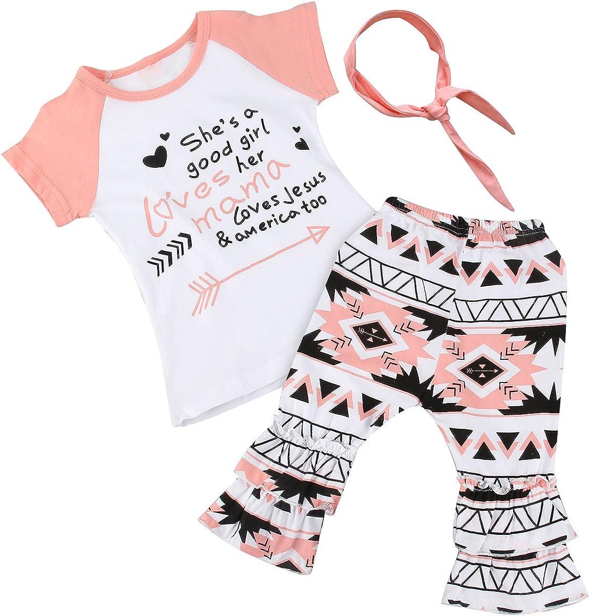 Pants+Headband Outfit Set 3Pcs Toddler Kids Baby Girls Summer Clothes T-Shirt