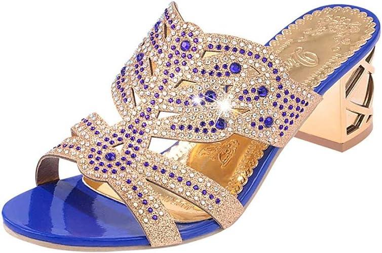 Mode Talons Été d'été à Décoration Sandales Plates Chaussures LUCKYCAT Pieds Mode Gao AmazonSandales de de Talon Chaussures Diamant Chaussures Femme D2W9HEIY